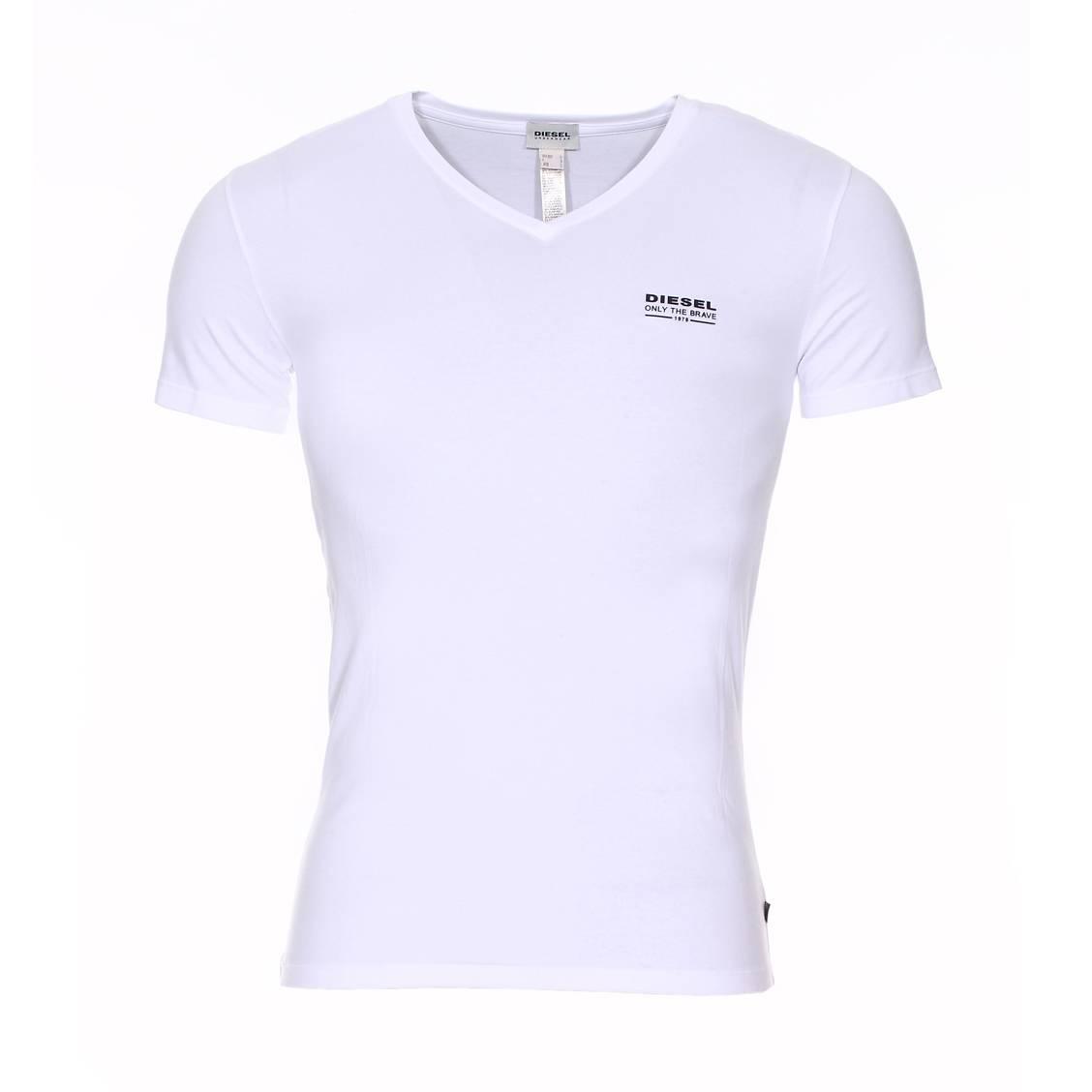 tee shirt diesel col v stretch blanc rue des hommes. Black Bedroom Furniture Sets. Home Design Ideas