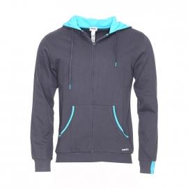 Sweat zippé à capuche Diesel en coton gris à détails bleu turquoise