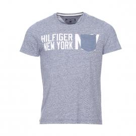 Tee-shirt Hutton Tommy Hilfiger en coton flammé bleu/gris à poche