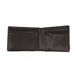 Portefeuille italien Eden Park en textile et cuir noir à bande estampillée