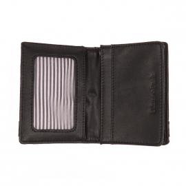 Portefeuille européen 2 volets Eden Park noir en tissu et cuir monogrammé