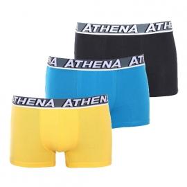 Lot de 3 boxers Free Motion Athena en coton stretch respirant : 1 modèle noir, 1 modèle bleu et 1 modèle jaune
