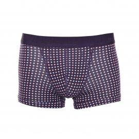 Boxer Eminence en coton micromodal stretch violet à petits motifs blancs et bordeaux