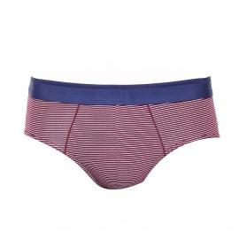 Slip Eminence en coton stretch à fines rayures blanches et prune et ceinture bleu foncé