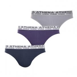 Lot de 3 slips Athena en coton stretch : 1 modèle cassis, 1 modèle gris et 1 modèle bleu marine