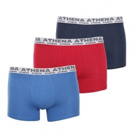 Lot de 3 boxers Athena en coton stretch : 1 modèle bleu clair, 1 modèle rouge et 1 modèle bleu marine