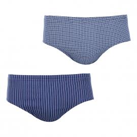 Lot de 2 slips taille haute Eminence en pur coton : 1 modèle bleu marine à carreaux et 1 modèle bleu marine à rayures