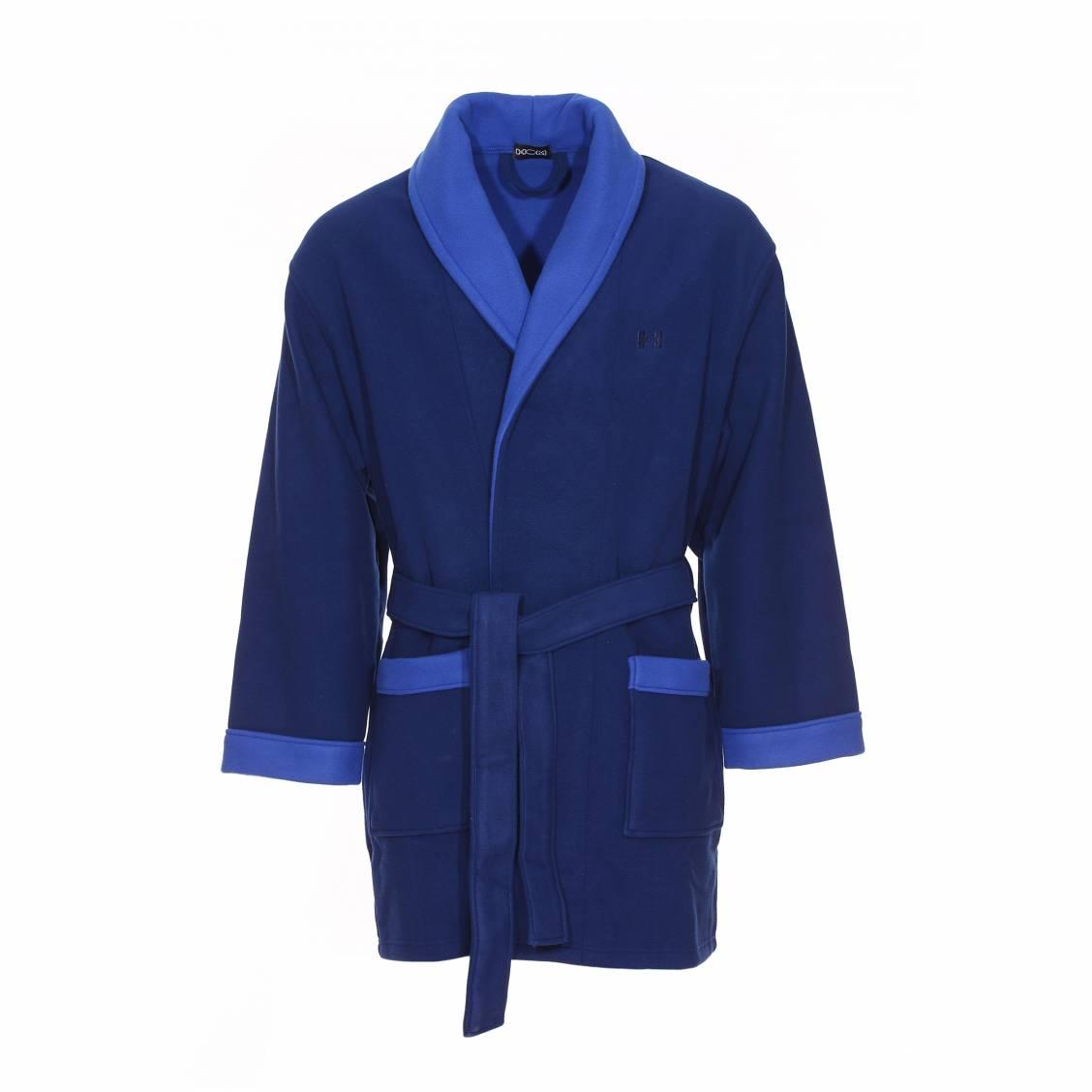 robe de chambre polaire courte hom k luxe bleu marine et. Black Bedroom Furniture Sets. Home Design Ideas