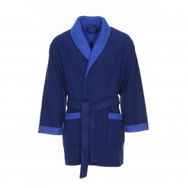 Robe de chambre polaire courte Hom K-Luxe bleu marine et bleu électrique