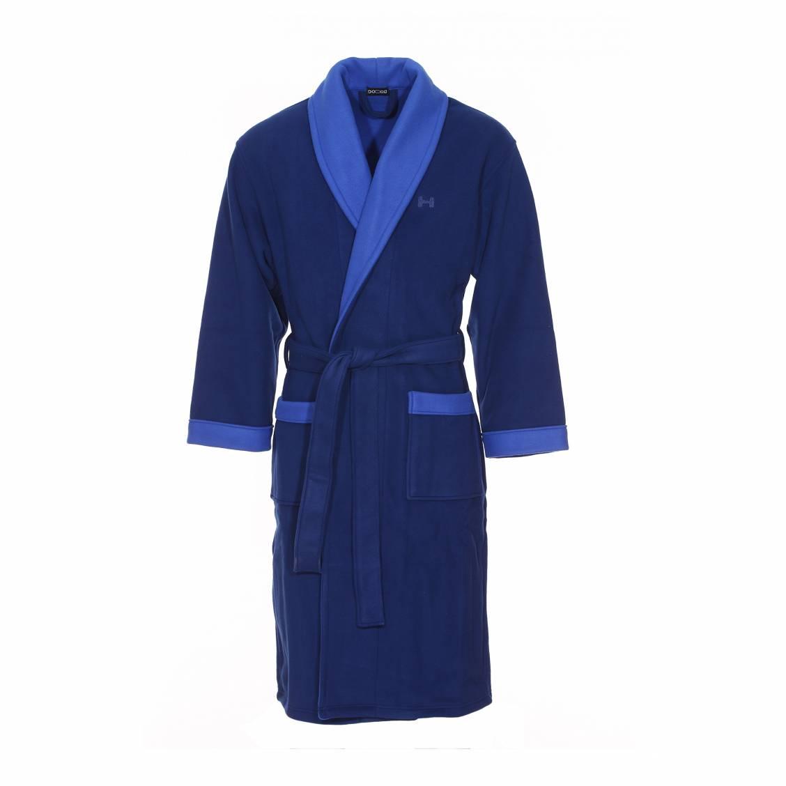 robe de chambre polaire long hom k luxe bleu marine et bleu lectrique rue des hommes. Black Bedroom Furniture Sets. Home Design Ideas