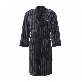 Peignoir de bain Hom K-Royal noir à rayures verticales grises