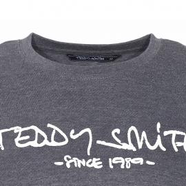 Tee-shirt manches longues et col rond Ticlass Teddy Smith en coton gris chiné