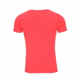 Tee-shirt col rond Guess en coton stretch rouge vermillon floqué