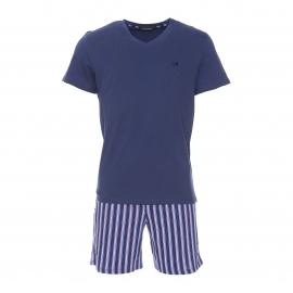 Pyjama court Hom Grand Hotel en coton : tee-shirt manches courtes bleu marine et short bleu marine rayé