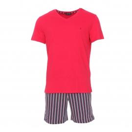 Pyjama court Hom Grand Hotel en coton : tee-shirt col V à manches courtes et short gris foncé rayé