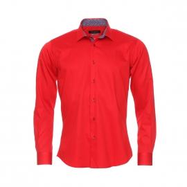 Chemise cintrée à manches longues Méadrine en coton rouge à opposition bleu marine à motifs fantaisie rouges et blancs