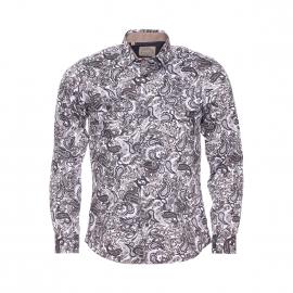 Chemise ajustée à manches longues Méadrine en coton marron et gris à motifs cachemire