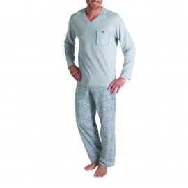 Pyjama long Eminence en coton : Tee-shirt col V gris chiné et pantalon gris chiné à motifs
