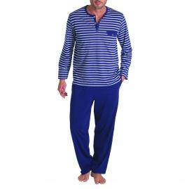 Pyjama long Eminence en coton : Tee-shirt col rond rayé blanc et bleu marine et pantalon bleu marine