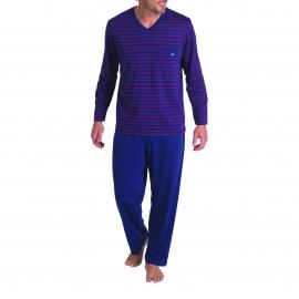 Pyjama long Eminence en coton : Tee-shirt col V rayé bordeaux et bleu marine et pantalon bleu marine