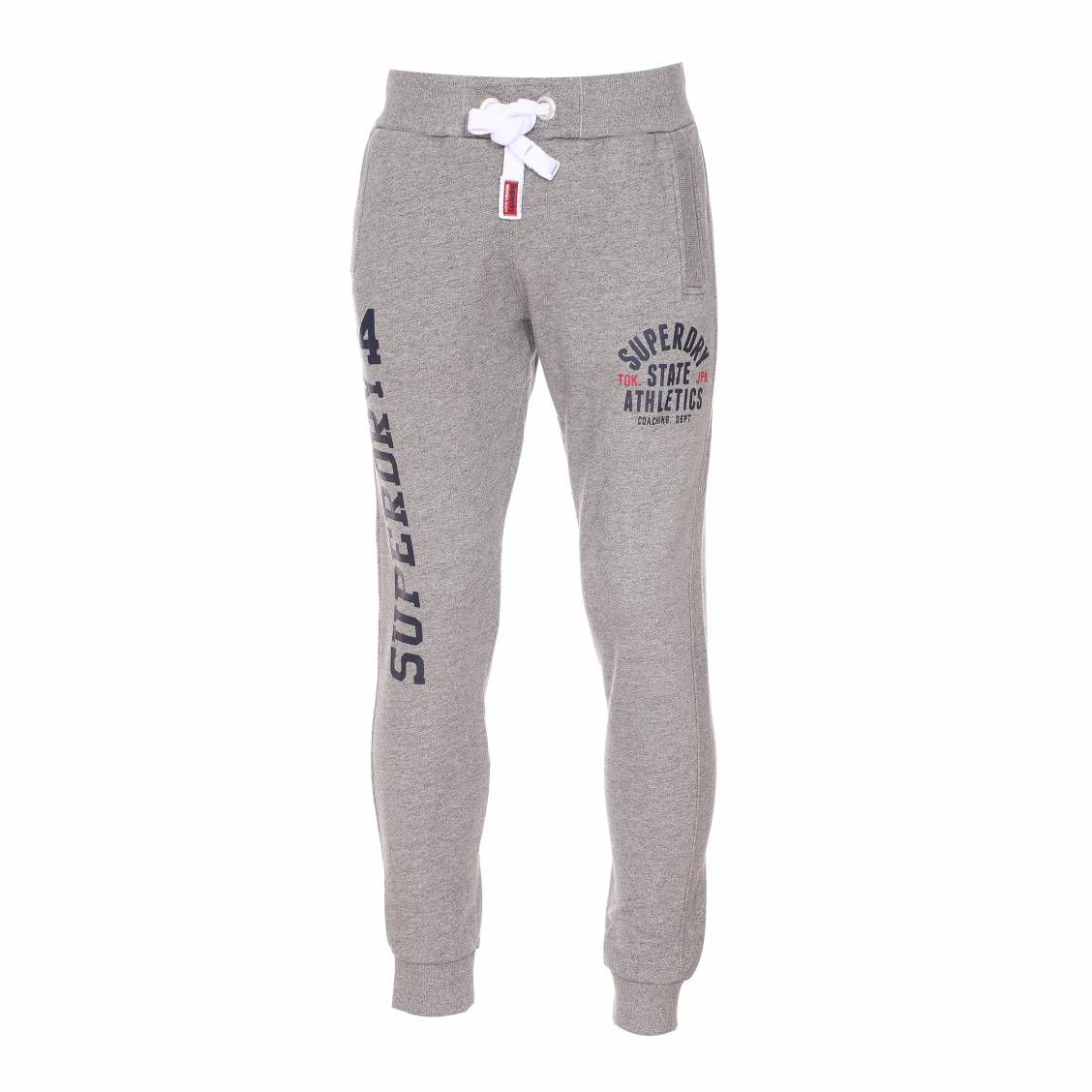 pantalon de jogging slim superdry gris clair chin rue des hommes. Black Bedroom Furniture Sets. Home Design Ideas