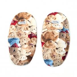 Pantoufles Arthur en coton beige à motifs ours en peluche