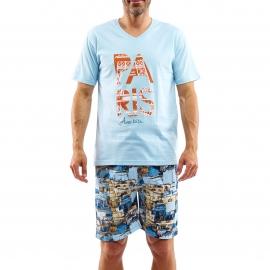 Pyjama court Arthur Paris : Tee-shirt manches courtes bleu ciel