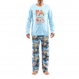 Pyjama long Arthur Paris : Tee-shirt manches longues bleu ciel