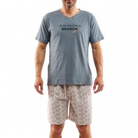 Pyjama court Arthur Brunch : Tee-shirt manches courtes gris foncé