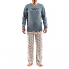 Pyjama long Arthur Brunch : Tee-shirt manches longues gris foncé