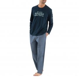 Pyjama long Athena en coton : Tee-shirt col rond bleu marine floqué et pantalon bleu denim