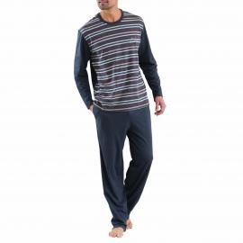Pyjama long Athena en coton : Tee-shirt col rond anthracite rayé et pantalon anthracite