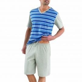 Pyjama court Athena en coton : Tee-shirt col rond gris chiné rayé bleu et bermuda gris chiné