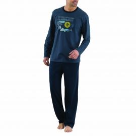 Pyjama long Athena en coton : Tee-shirt col rond bleu/gris floqué et pantalon bleu marine