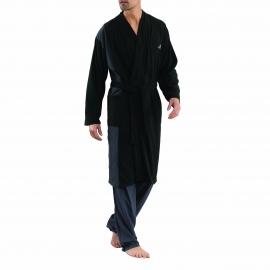 Robe de chambre: Athena noire à détails gris anthracite