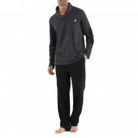 Pyjama long Athena : Pull gris anthracite et pantalon noir