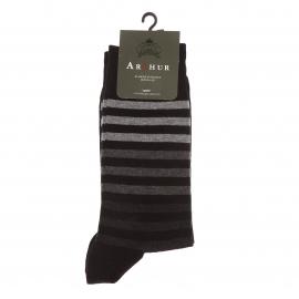 Chaussettes Arthur  en coton noir à rayures grises