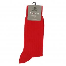 Chaussettes Arthur en pur coton fil d'Ecosse stretch rouge