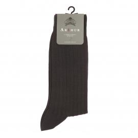 Chaussettes Arthur en pur coton fil d'Ecosse stretch gris foncé