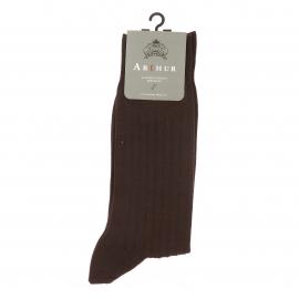 Chaussettes Arthur en pur coton fil d'Ecosse stretch chocolat