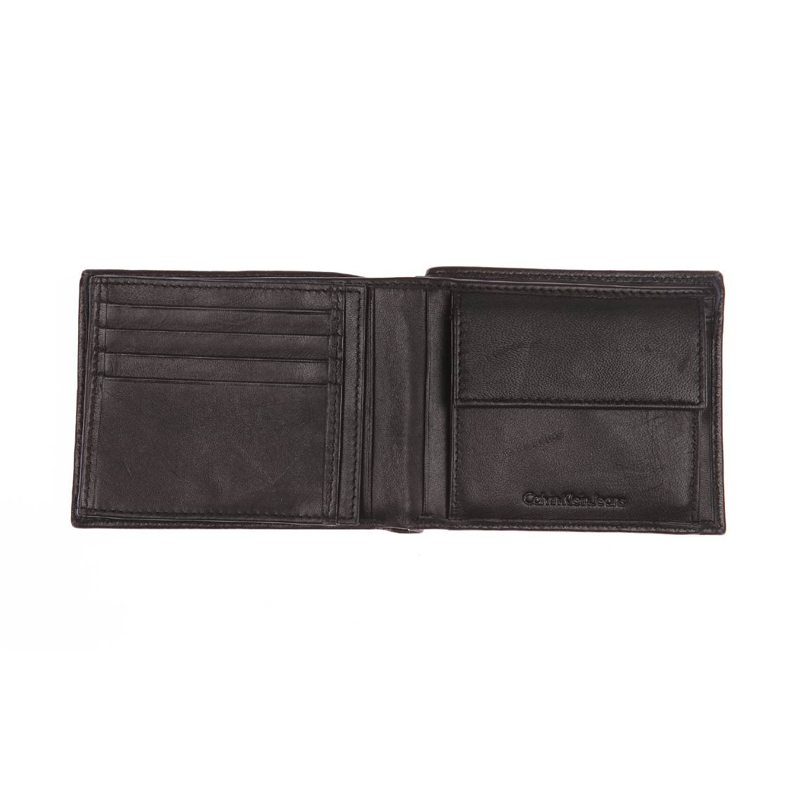 Portefeuille italien Calvin Klein Jeans Rail en cuir lisse noir 2cmUhKdl