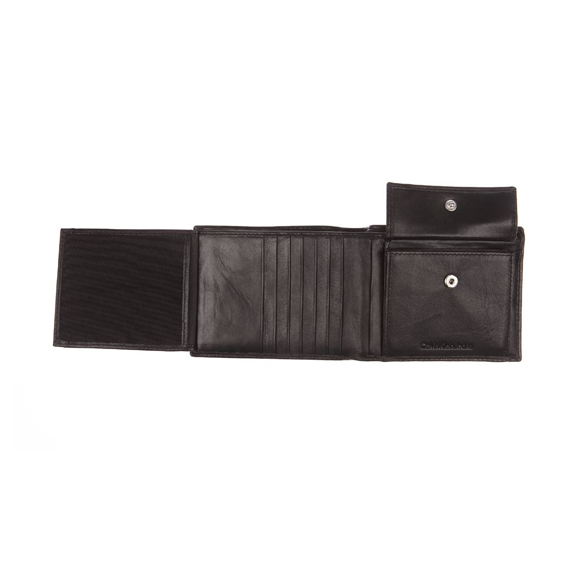 Petit portefeuille italien Calvin Klein Jeans Rail en cuir lisse noir P0RT6JW