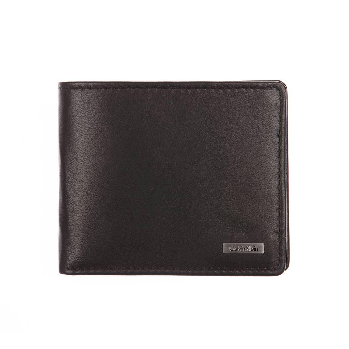 Portefeuille européen Calvin Klein Jeans Rail en cuir lisse noir FKIIFOq2