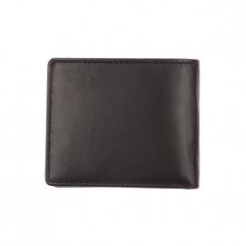 Portefeuille italien Calvin Klein Jeans en cuir lisse noir
