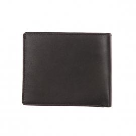 Petit portefeuille italien Calvin Klein Jeans en cuir lisse noir