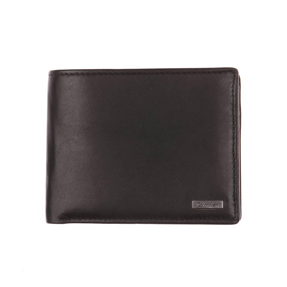 Portefeuille italien calvin klein jeans en cuir lisse noir avec porte monnaie rue des hommes - Portefeuille cuir homme avec porte monnaie ...