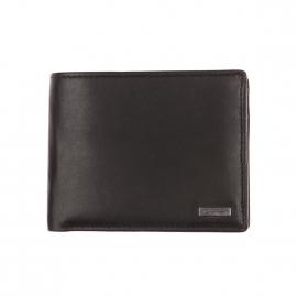 Portefeuille italien Calvin Klein Jeans en cuir lisse noir avec porte-monnaie