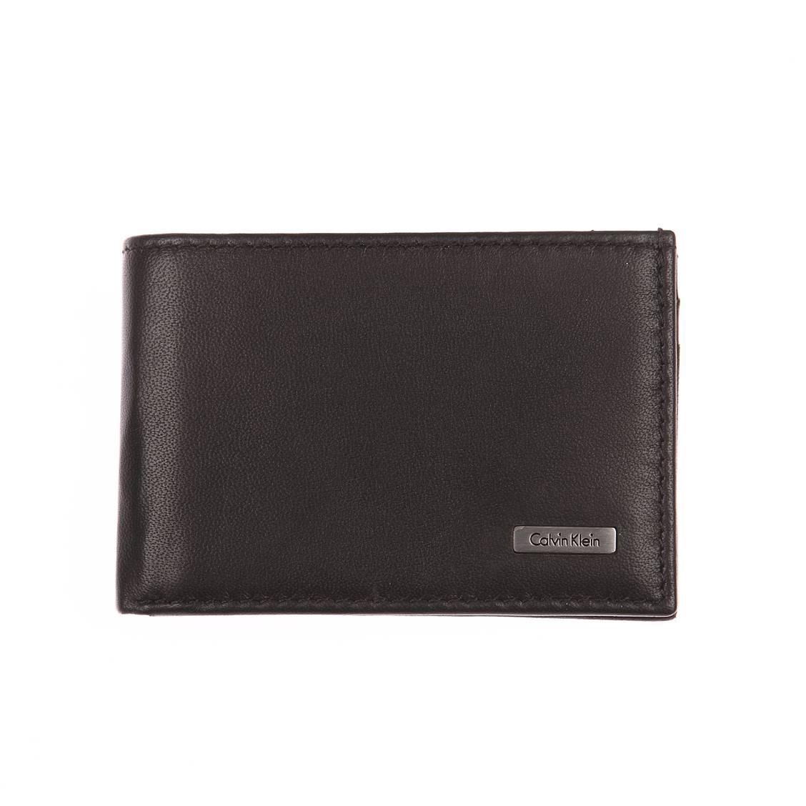 Portefeuille italien Calvin Klein Jeans Rail en cuir lisse noir avec porte-monnaie YL4cxpS