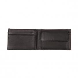 Mini portefeuille italien Calvin Klein Jeans en cuir lisse noir