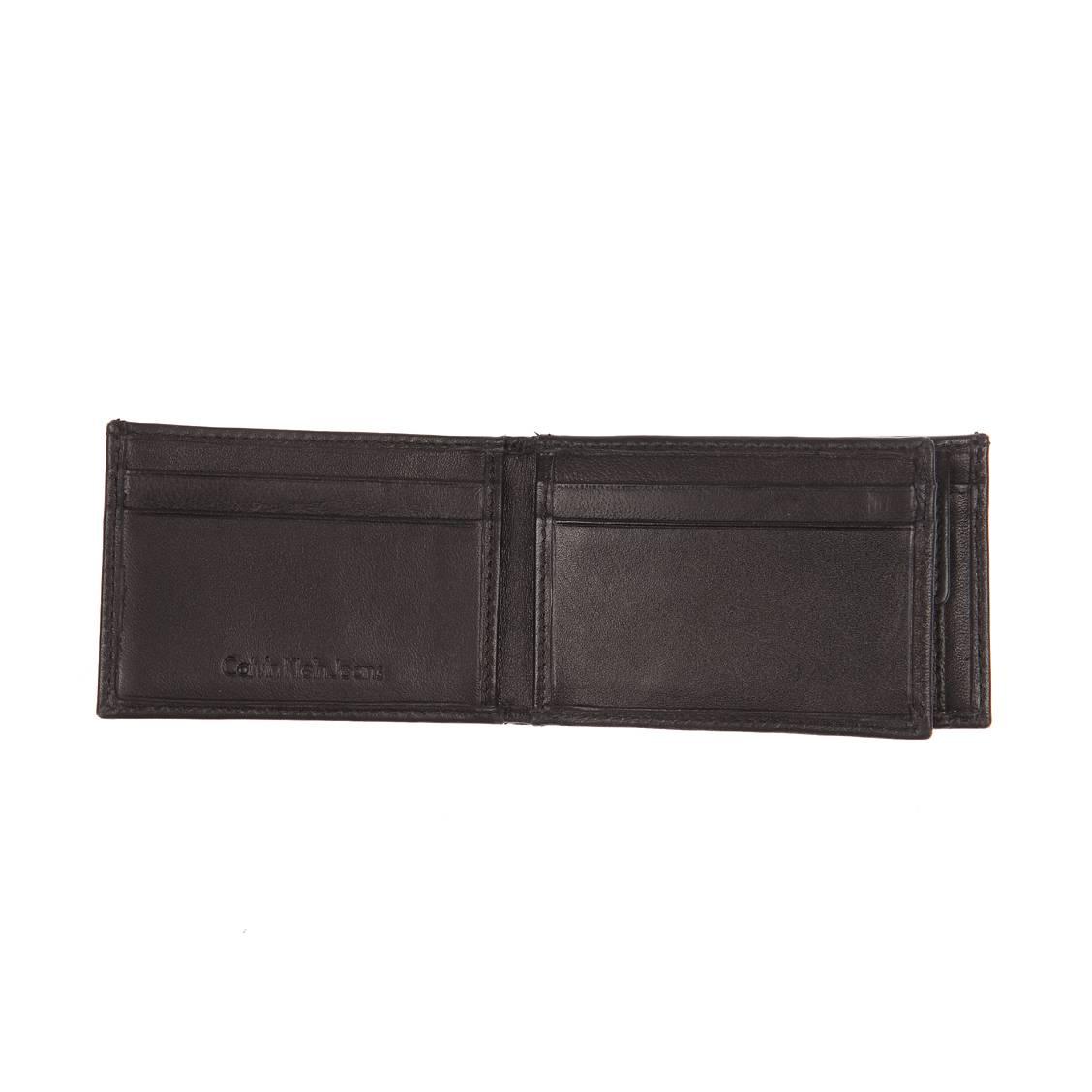 Mini portefeuille italien Calvin Klein Jeans Rail en cuir lisse noir xUMBXE